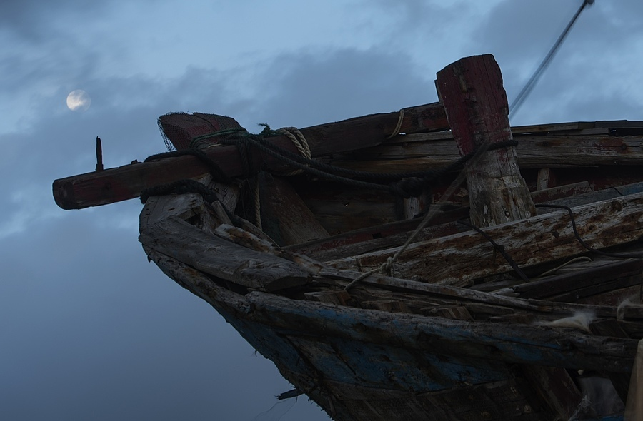 Abandoned boat and the Moon | LENS MODEL NOT SET <br> Click image for more details, Click <b>X</b> on top right of image to close