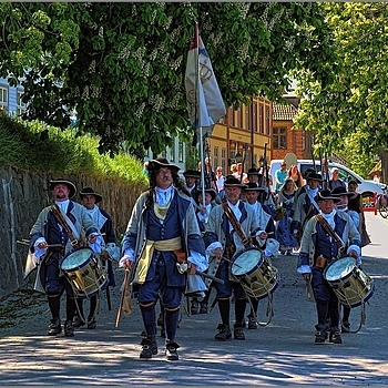 Parading Reenactment Soldiers from 1704 | NIKON 16-85MM F/3.5-5.6G ED AF-S VR DX <br> Click image for more details, Click <b>X</b> on top right of image to close