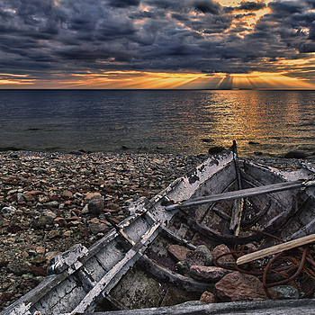 Old boat at sunset - HDR Photo | NIKON 14-24MM F/2.8G ED AF-S N <br> Click image for more details, Click <b>X</b> on top right of image to close