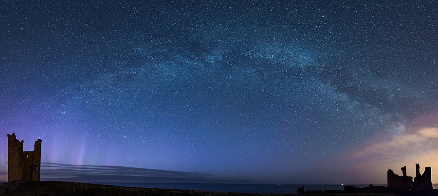 Dustanburgh Castle Milkyway and Aurora | NIKON 10-24MM F/3.5-4.5 ED AF-S DX <br> Click image for more details, Click <b>X</b> on top right of image to close