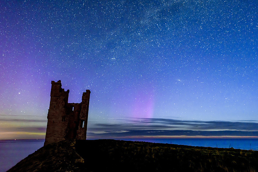 Castle, Milkyway, Aurora and First Light | NIKON 10-24MM F/3.5-4.5 ED AF-S DX <br> Click image for more details, Click <b>X</b> on top right of image to close