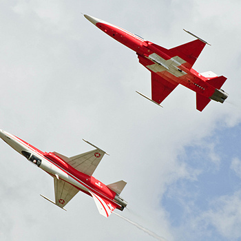 The Patrouille Suisse, F-5E Tiger IIs | NIKON 70-200MM F/2.8G ED-IF AF-S VR <br> Click image for more details, Click <b>X</b> on top right of image to close