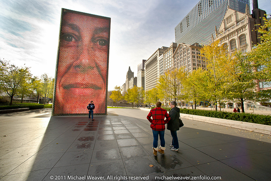 Chicago's Crown Fountain | NIKON 14MM F/2.8D ED AF <br> Click image for more details, Click <b>X</b> on top right of image to close