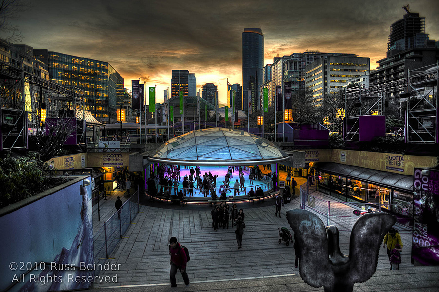Robson Square Sunset | NIKON 14-24MM F/2.8G ED AF-S N <br> Click image for more details, Click <b>X</b> on top right of image to close
