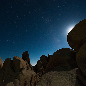 Joshua Tree Boulders and the Moon | NIKON 14-24MM F/2.8G ED AF-S N <br> Click image for more details, Click <b>X</b> on top right of image to close