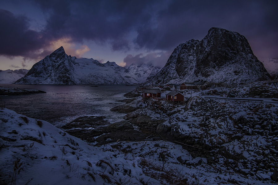 Lofoten village sunset | AF-S NIKKOR 16-35MM F/4G ED VR <br> Click image for more details, Click <b>X</b> on top right of image to close