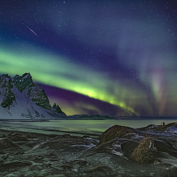 Meteor and aurora Vesturhorn Iceland | AF-S NIKKOR 24MM F/1.4G ED <br> Click image for more details, Click <b>X</b> on top right of image to close