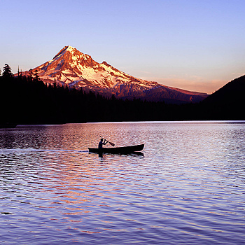Canoe and Mt. Hood