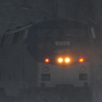 Amtrak in snow | NIKON 70-300MM F/4.5-5.6G IF-ED AF-S VR <br> Click image for more details, Click <b>X</b> on top right of image to close