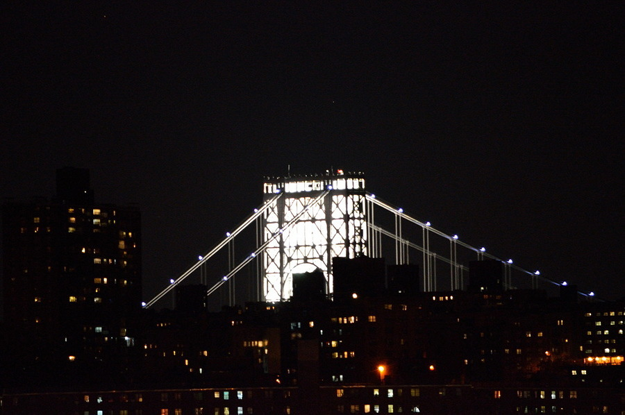 George Washington Bridge Tower | NIKON 55-300MM F/4.5-5.6G AF-S VR DX <br> Click image for more details, Click <b>X</b> on top right of image to close