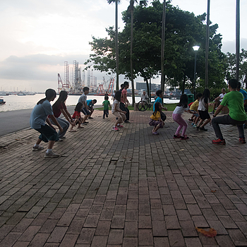 Morning group exercise at the park