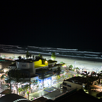 Gold Coast beach at night