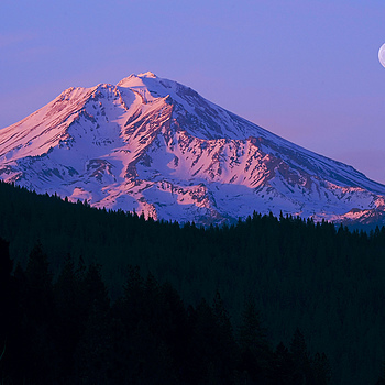Photo: Moonrise and Sunset over Mount Shasta
