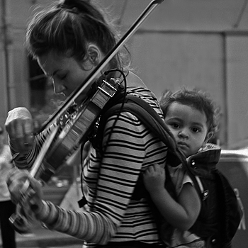 Street musician and child-2 | LENS MODEL NOT SET <br> Click image for more details, Click <b>X</b> on top right of image to close
