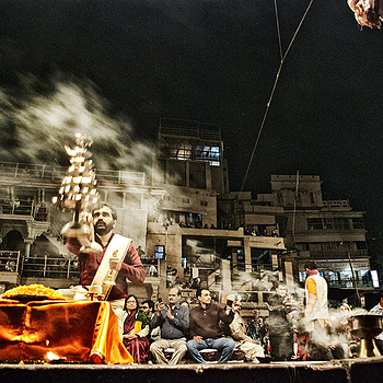 Varanasi, Puja. | LENS MODEL NOT SET <br> Click image for more details, Click <b>X</b> on top right of image to close
