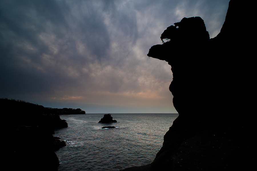Northern Jeju Coast Dragon Heads Silhouette | NIKON 20MM F/2.8 <br> Click image for more details, Click <b>X</b> on top right of image to close