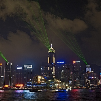 Green Lightbeams over Tsim Sha Tsui | NIKON 24-70MM F/2.8G ED AF-S N <br> Click image for more details, Click <b>X</b> on top right of image to close