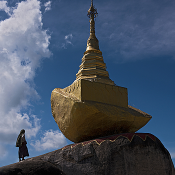 Stone Boat Stupa Mt. Kyaiktiyo | NIKON 24-70MM F/2.8G ED AF-S N <br> Click image for more details, Click <b>X</b> on top right of image to close